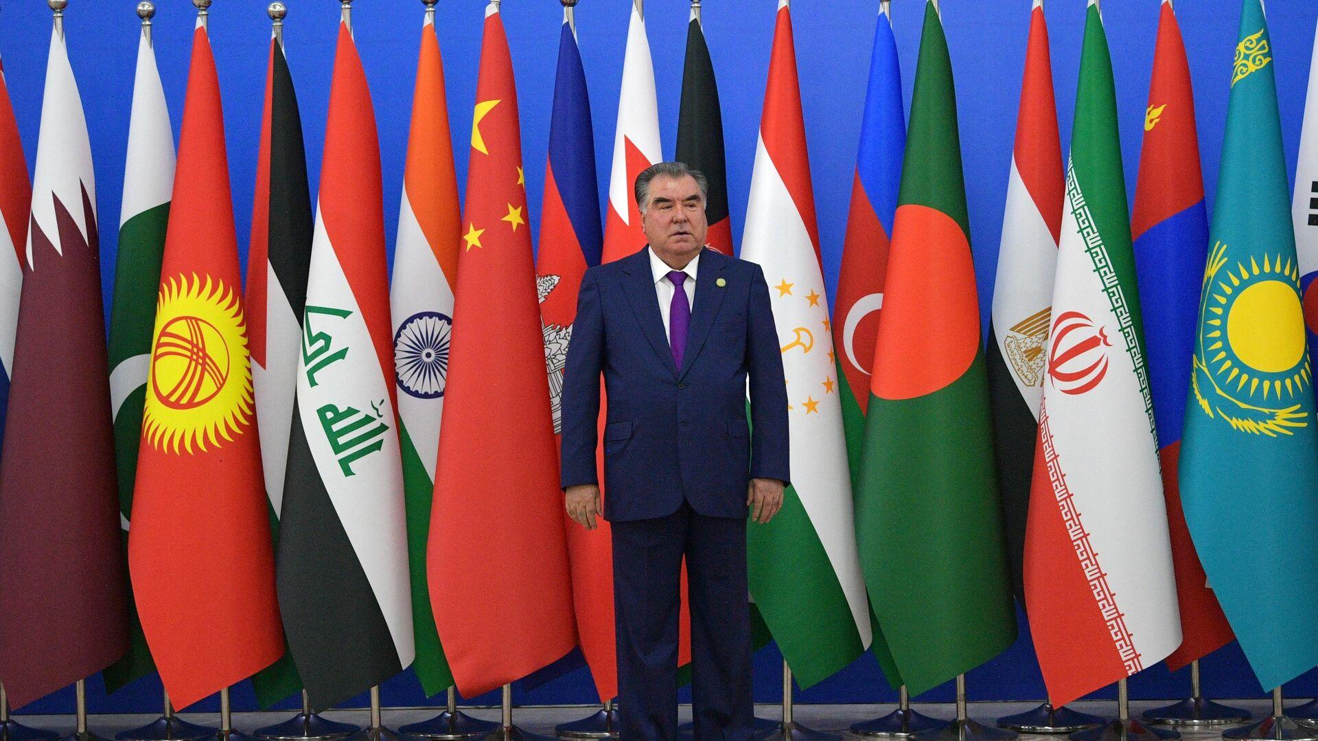 Президент Таджикистана Эмомали Рахмон во время церемонии приветствия глав делегаций государств, принимающих участие в Совещании по взаимодействию и мерам доверия в Азии в Душанбе. 15 июня 2019 - РИА Новости, 1920, 15.06.2019