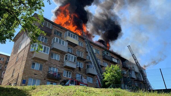 Пожар в пятиэтажка во Владивостоке. 19 июня 2019