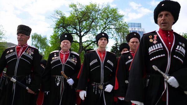 Участники парада Кубанского казачьего войска в Краснодаре