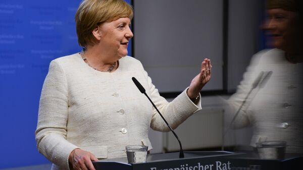 Федеральный канцлер Германии Ангела Меркель на саммите ЕС в Брюсселе