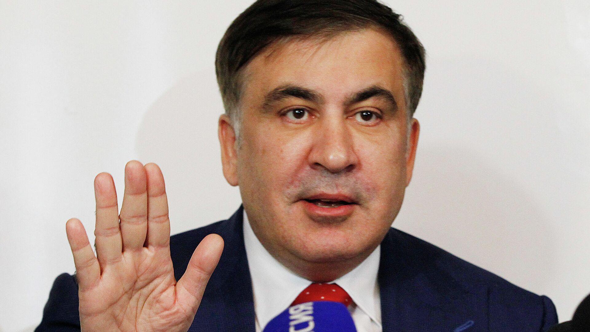 Михаил Саакашвили во время беседы с журналистами - РИА Новости, 1920, 26.07.2021