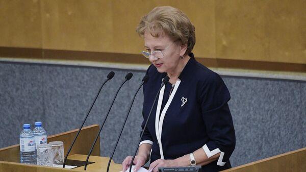 Председатель парламента Молдавии Зинаида Гречаная выступает на пленарном заседании Государственной думы РФ. 26 июня 2019