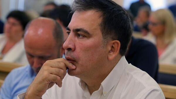 Лидер политической партии Движение новых сил Михаил Саакашвили на заседании Высшего Административного суда Украины. 28 июня 2019