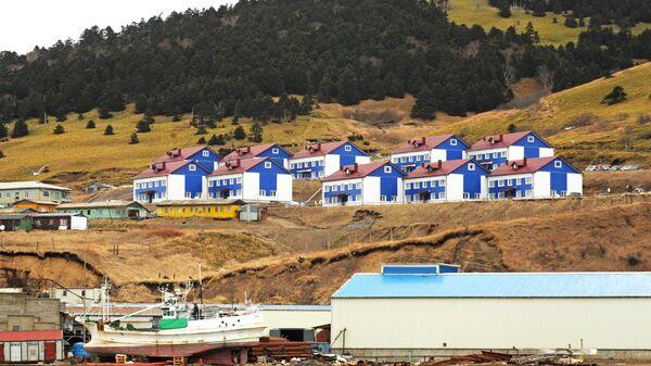 Поселок пограничников на берегу бухты Малокурильская острова Шикотан Сахалинской области