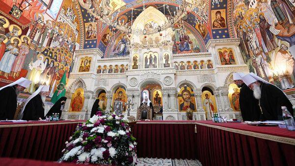 Патриарх Московский и всея Руси Кирилл на заседании Священного Синода Русской православной церкви
