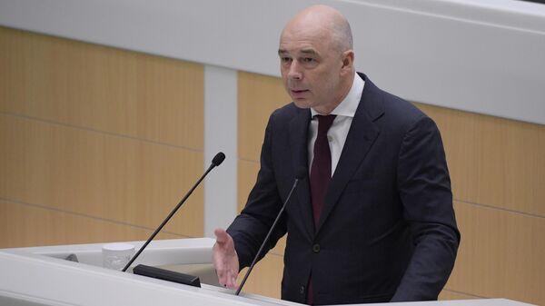 Первый вице-премьер РФ, министр финансов РФ Антон Силуанов выступает на заседании Совета Федерации РФ. 10 июля 2019