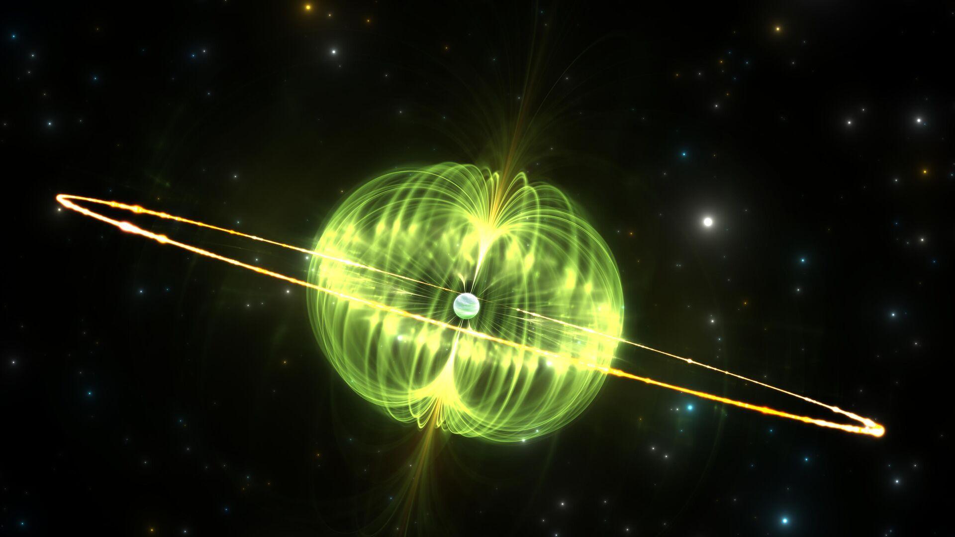 Магнитар — нейтронная звезда с очень сильным магнитным полем. Один из вероятных кандидатов в источники быстрых радиовсплесков. - РИА Новости, 1920, 12.07.2019