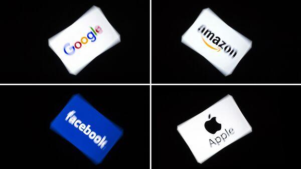 Логотипы компаний Facebook, Apple, Google и Amazon