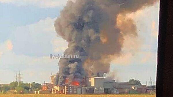 Пожар цехе по производству сои под Краснодаром. 13 июля 2019
