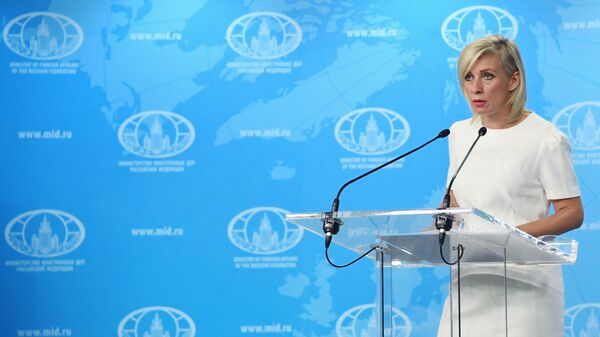 Официальный представитель Министерства иностранных дел России Мария Захарова во время брифинга в Москве. 17 июля 2019