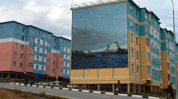 Дом с граффити в городе Анадырь