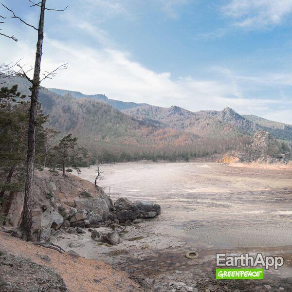 Фото Байкала без воды, опубликованное на сайте Greenpeace России
