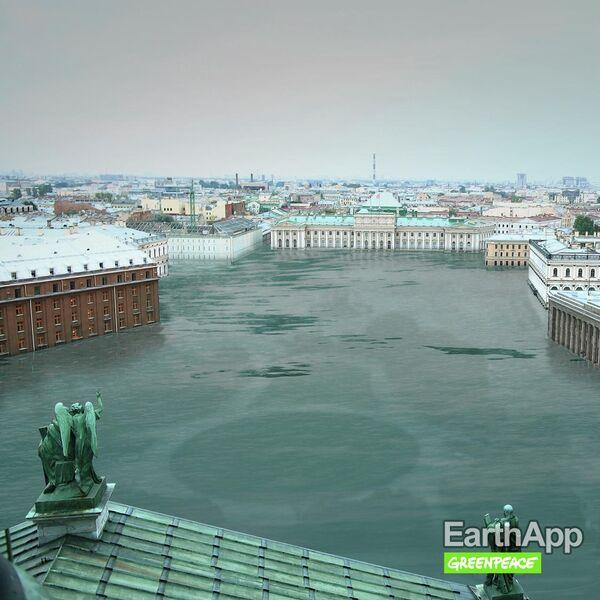 Фото затопленного Санкт-Петербурга, опубликованное на сайте Greenpeace России