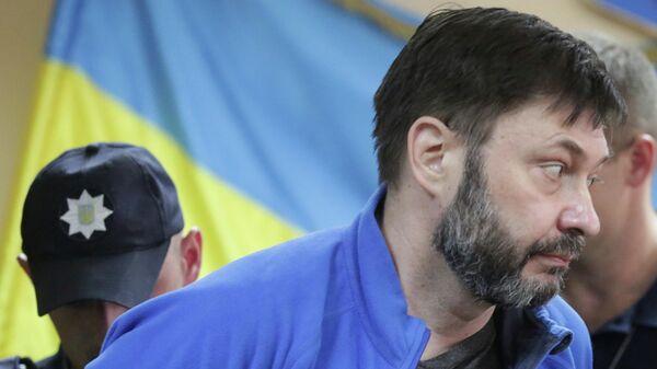 Руководитель портала РИА Новости Украина Кирилл Вышинский на заседании Подольского районного суда Киева. 19 июля 2019