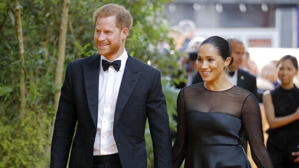 Принц Гарри и Меган Маркл на лондонской премьере Короля Льва
