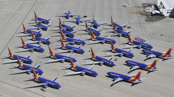 Самолеты Boeing 737 Max авиакомпании Southwest Airlines в Викторвилле, штат Калифорния, США