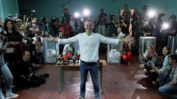 Лидер партии Голос и рок-группы Океан Эльзы Святослав Вакарчук на досрочных выборах в Верховную раду Украины