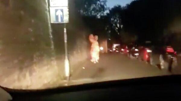Стоп-кадр видео убегающего от полиции человек в ростовом костюме динозавра