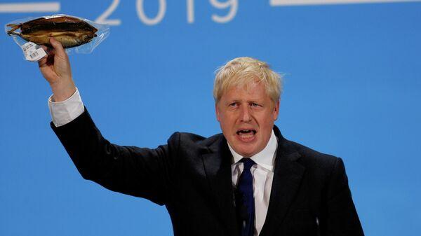 Борис Джонсон во время выступления в Лондоне. 17 июля 2019 года