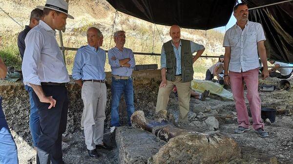 Гигантская бедренная кость динозавра-зауропода, обнаруженнная при раскопках в департаменте Шаранта, Франция. 22 июля 2019
