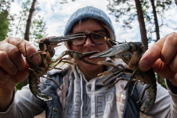 Девушка держит раков, собранных на озере Белое в Рязанской области