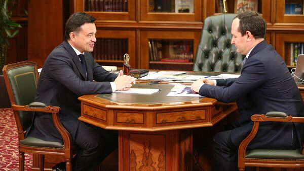 Встреча губернатора региона Андрея Воробьева с гендиректором ПАО Россети Павлом Ливинским