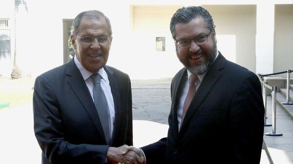 Министр иностранных дел России Сергей Лавров и министр иностранных дел Бразилии Эрнесту Араужу во время встречи. 26 июля 2019