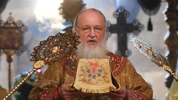 Патриарх Московский и всея Руси Кирилл совершает Божественную литургию в Успенском соборе Московского Кремля по случаю Дня Крещения Руси. 28 июля 2019