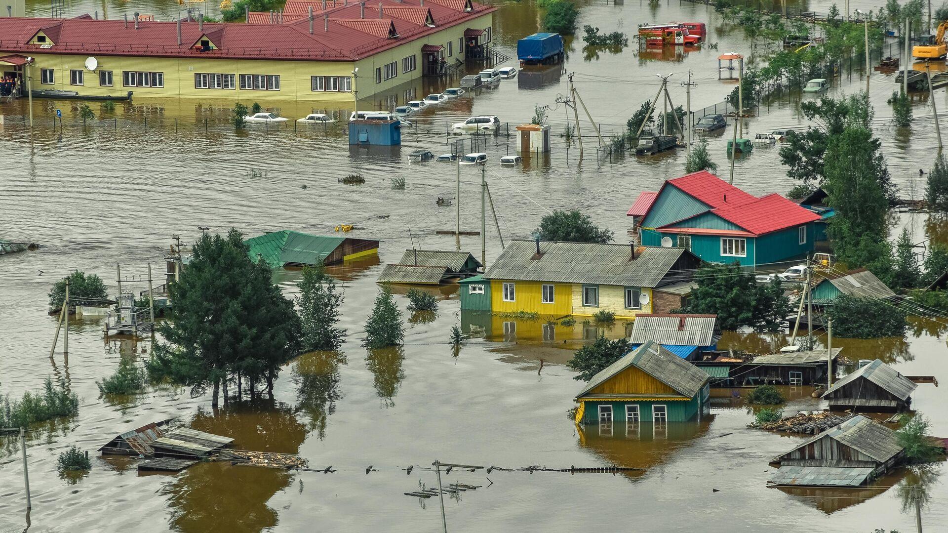 Затопленные дома в селе Норск в Селемджинском районе Амурской области - РИА Новости, 1920, 24.09.2020