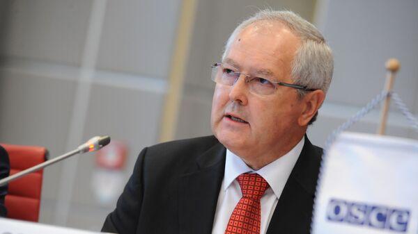 Глава Наблюдательной миссии ОБСЕ на погранпунктах Гуково и Донецк Дьердь Варга выступает на заседании Постоянного совета ОБСЕ с докладом, Вена