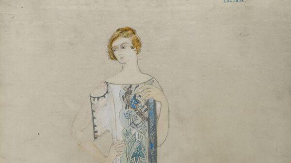 Эскиз платья Натальи Гончаровой для модного дома Надежды Ламановой, 1910-1914
