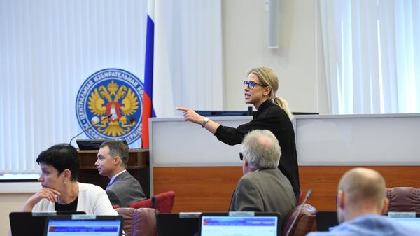 Незарегистрированный кандидат в депутаты Мосгордумы Любовь Соболь на заседании рабочей группы Центральной избирательной комиссии РФ