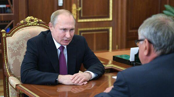 Президент РФ Владимир Путин во время встречи с президентом - председателем правления Банка ВТБ Андреем Костиным
