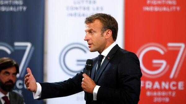 Президент Франции Эммануэль Макрон во время выступления в Париже накануне саммита G7