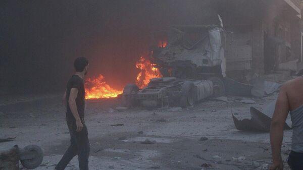 Авиаудар в провинции Идлиб, Сирия