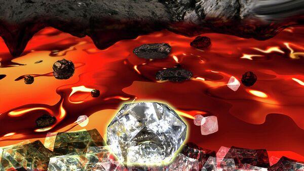 Рождение алмаза в ячейке высокого давления. Графит (сверху) растворяется в металлическом расплаве и опускается в более холодную зону, где находится затравка. Она растет четверо суток и превращается в кристалл массой два карата