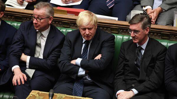 Премьер-министр Великобритании Борис Джонсон во время заседания Палаты общин в Лондоне