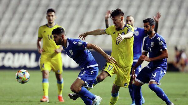 Игровой момент матча Кипр - Казахстан