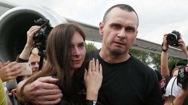 Осужденный в России за терроризм Олег Сенцов в аэропорту Борисполя. 7 сентября 2019