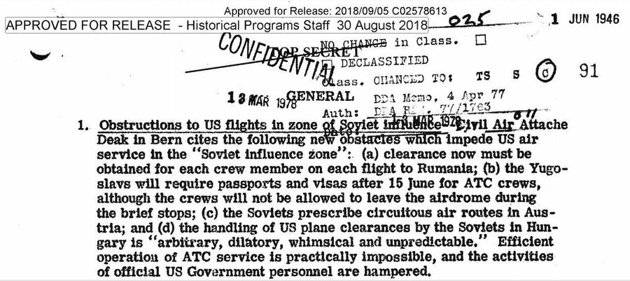 Фрагмент сводки ЦРУ от 1 июня 1946 года об ужесточении режима воздушеного сообщения