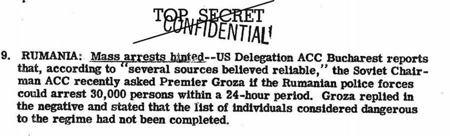 Фрагмент сводки ЦРУ от 4 октября 1946 года о массовых арестах в Румынии