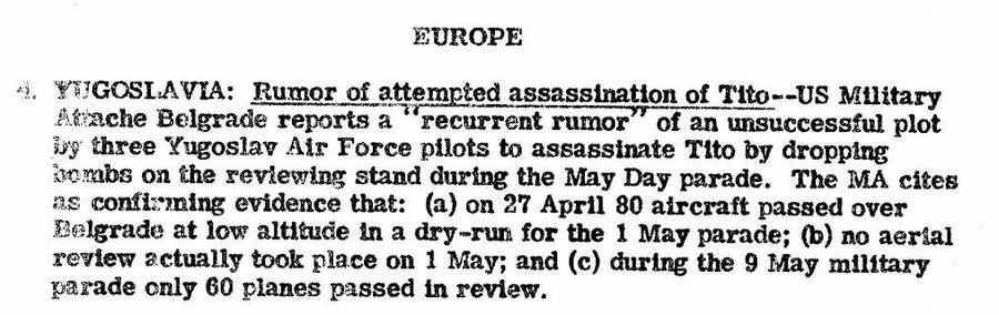 Фрагмент сводки ЦРУ от 12 мая 1947 года о якобы готовившемся покушении на Тито