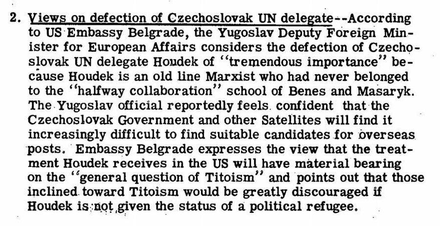 Фрагмент сводки ЦРУ от 22 мая 1950 года о побеге чехословацкого дипломата на Запад