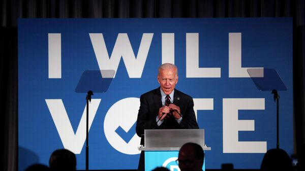 Кандидат в президенты от Демократической партии, бывший вице-президент Джо Байден выступает в Атланте