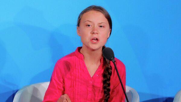 Шведская активистка Грета Тунберг выступает на саммите ООН по климату в Нью-Йорке