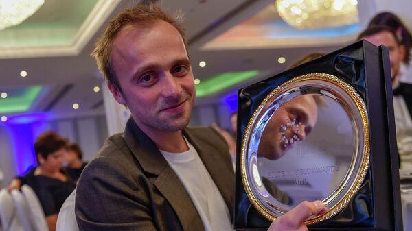 Руководитель центра инновационной журналистики МИА Россия сегодня Иван Громов на церемонии вручения международной премии IPRA Golden World Awards 2019 в Ереване, Армения