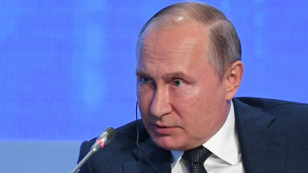 Президент РФ Владимир Путин на третьем международном форуме Российская энергетическая неделя. 2 октября 2019
