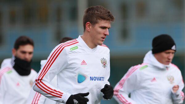 Нападающий сборной России Александр Соболев