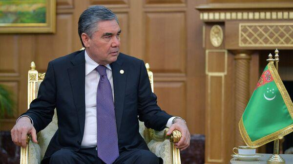 Президент, председатель кабинета министров Туркмении Гурбангулы Бердымухамедов во время встречи с президентом РФ Владимиром Путиным