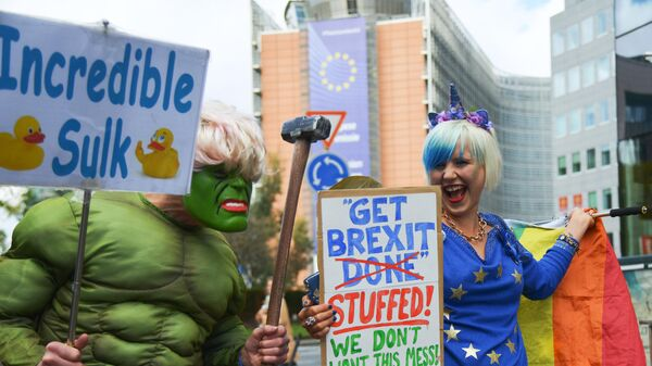 Участники акции сторонников Brexit у здания Европейской Комиссии в Брюсселе